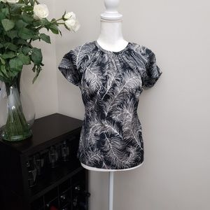 Kate Spade Printed Silky Short Sleeve Blouse
